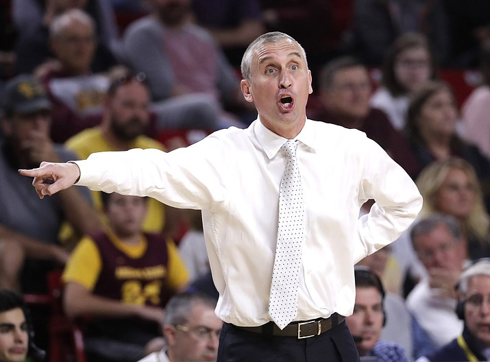 Arizona State head coach Bobby Hurley yells during the second half of an NCAA college basketball game against USC, Sunday, Feb. 26,  in Tempe, Ariz.