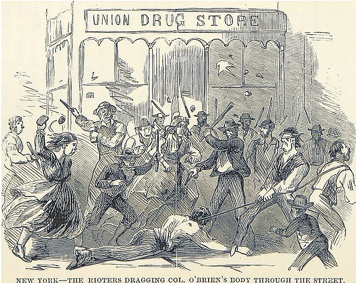 An illustration of one of the many railroad riots that broke out in 1882.