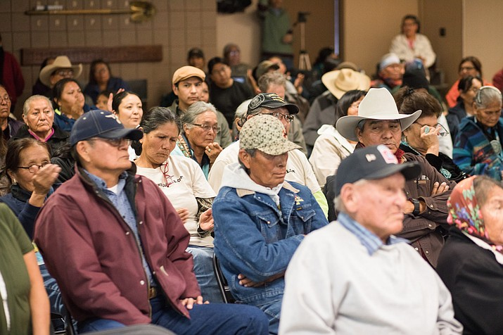 Members of the Bodaway/Gap community, among others,  listen during a meeting of the Resource and Development Committee before a final vote tabled the Escalade proposal Jan. 11. Photo/Ryan Williams Photography