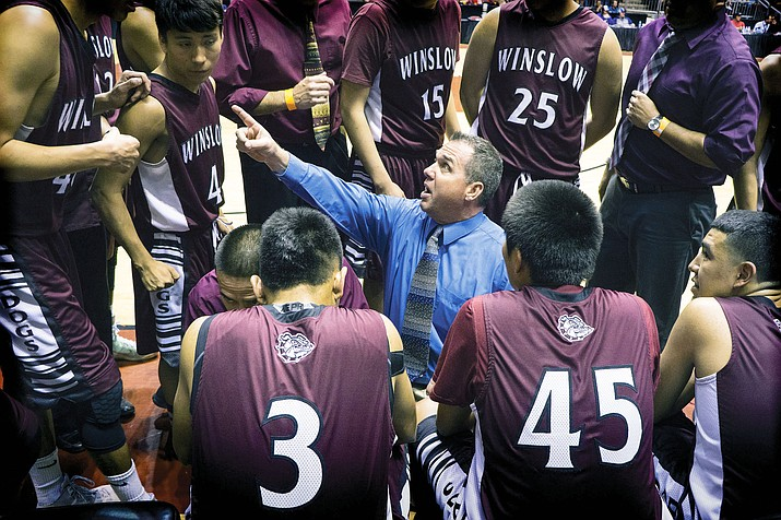 Bulldogs coach Scott Corum gives final instructions. Photo/Todd Roth
