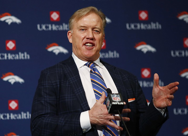 Denver Broncos general manager John Elway responds to questions after the introduction of Vance Joseph as the new head coach of the team during a news conference at the team's headquarters Jan. 12 in Englewood, Colo. (David Zalubowski/Associated Press)