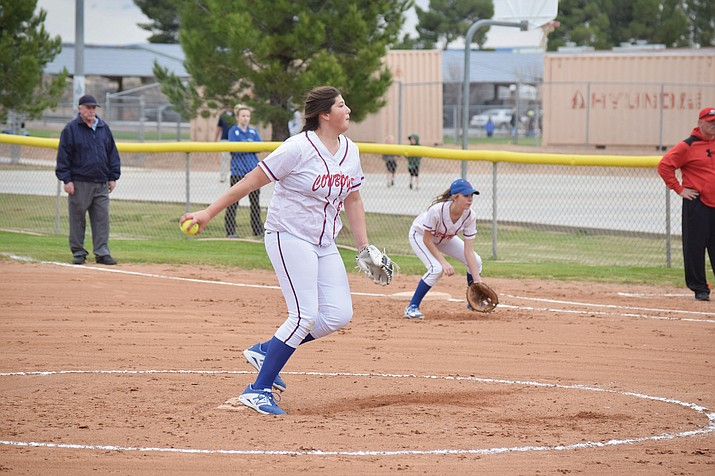 Camp Verde freshman Jacy Finley led the Lady Cowboys to a 15-2 win over Mayer. Finley did not give up a hit in her debut. (VVN/James Kelley)
