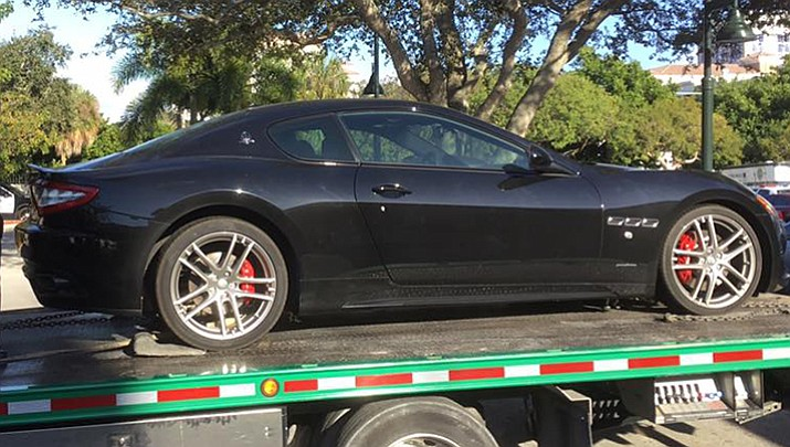 An arrest report for 45-year-old Michael McGilvary II says he stopped at a Boca Raton resort during a test drive of a  $150,000 Maserati GranTurismo, promising to show off a boat, but then left the salesman at the dock and drove away.