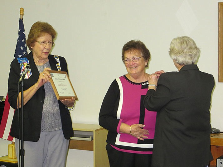 From left: Karen Barks, State Chairman for the Community Service Award; Betty Bourgault; and Sue Burk.