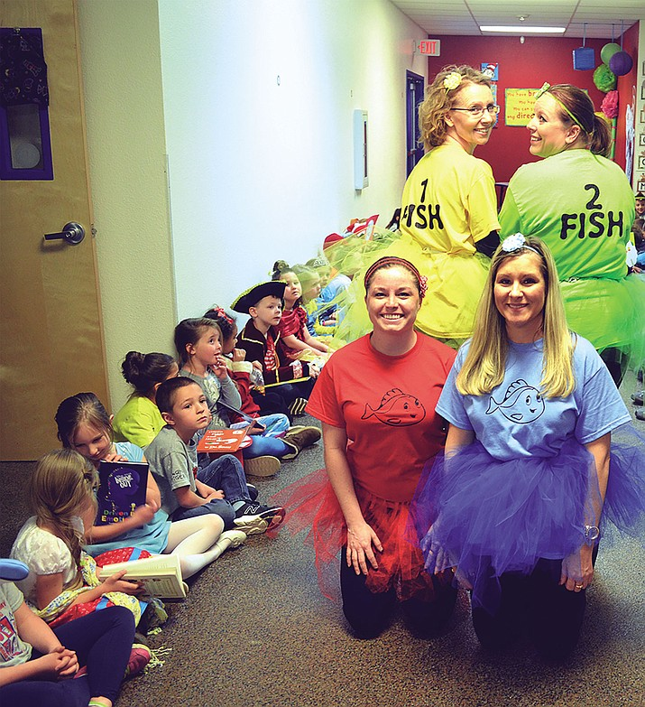 First-grade teachers Darlene Schwab (One Fish), Tonya Smith (Two Fish),  Alyssa Mason (Red Fish) and Rachel Brann (Blue Fish).