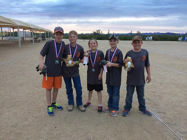 Winning medals at the archery state-qualifying competition were Hunter Hulburd, sixth grade at Heritage Middle School; Tanner Deskins, eighth grade at Heritage; Addie Hulburd, fourth grade at Del Rio Elementary School; Ivan Schuster, fourth grade at Del Rio; Cayden McMains, fifth grade at Del Rio and (not pictured) Sara Fearno.