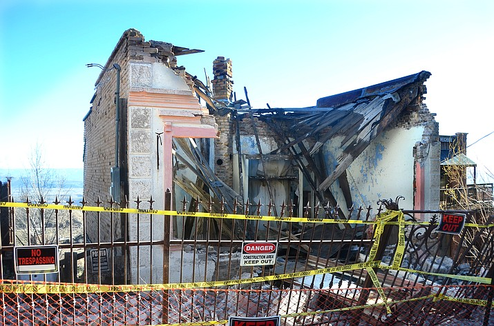 The former Cuban Queen Bordello building in Jerome collapsed on Sunday evening in Jerome. VVN/Vyto Starinskas