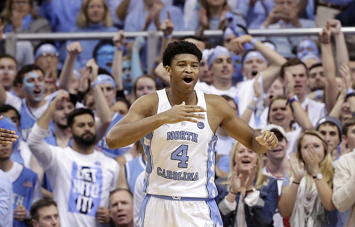North Carolina's Isaiah Hicks (4) reacts following a basket against Duke during the second half of an NCAA college basketball game in Chapel Hill, N.C., Saturday, March 4.