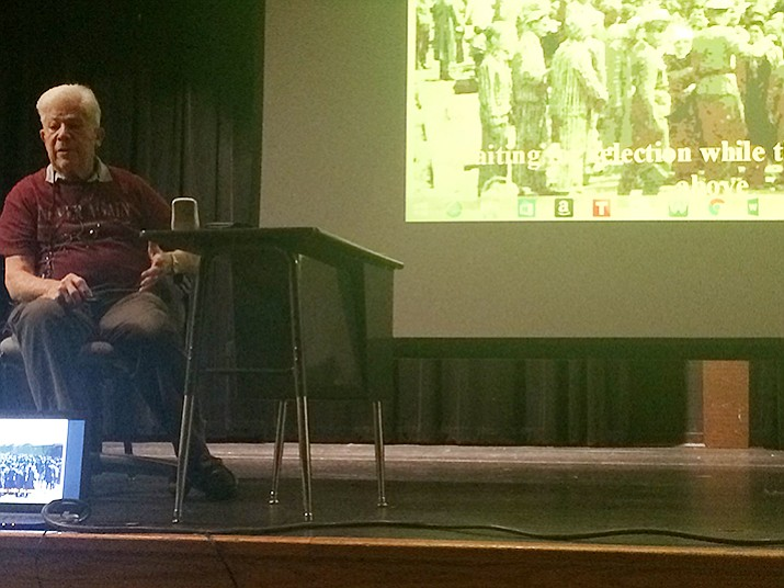 Stephen Nasser recounted his experience during the Holocaust for the eighth graders at Glassford Hill Middle School on Friday, March 3.