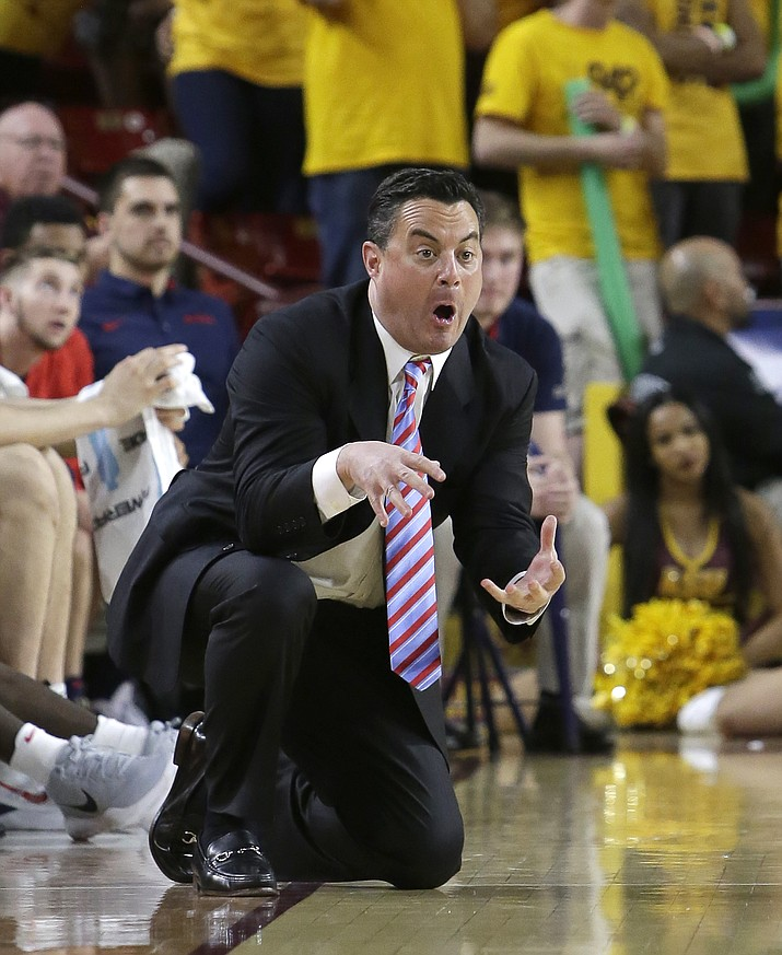 Arizona head coach Sean Miller reacts to a play during the second half against Arizona State on March 4 in Tempe. (Rick Scuteri/Associated Press)