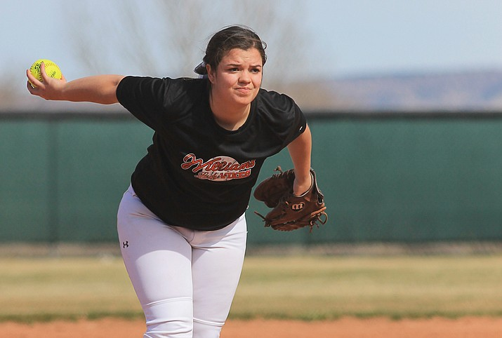 Lady Vike Carli Grantham winds-up to pitch during the game with Chino Valley Mar. 3.