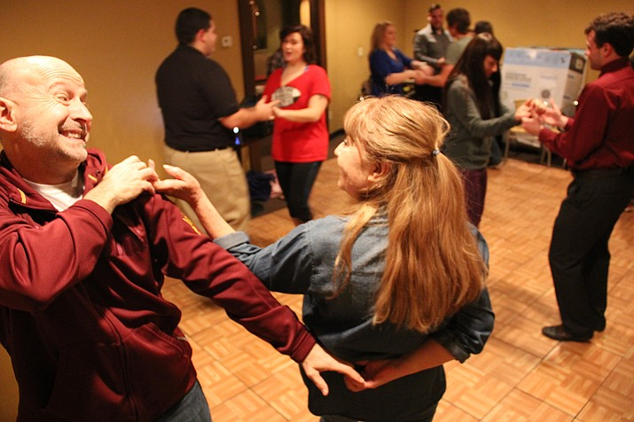 Dancers participate in a free Latin dance class taught every Wednesday night at Taj Mahal Restaurant and Lounge by local dance enthusiast Daniel Garcia.