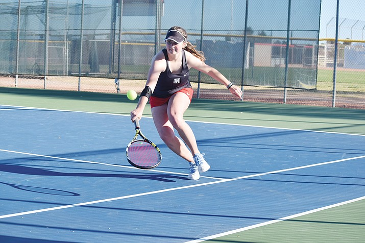 Mingus junior Talon Whiteley was a straight-sets winner for the Marauders Tuesday and the Mingus girls improved their season record to a perfect 3-0. (VVN James Kelley)