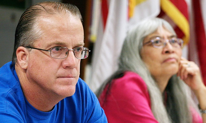 Camp Verde Unified School District's governing board is expected to select a school calendar not only for the 2017-2018 school year, but also for the foreseeable future, according to District Superintendent Dr. Dennis Goodwin. Pictured are board members Eric Lawton and Helen Freeman. (Photo by Bill Helm)
