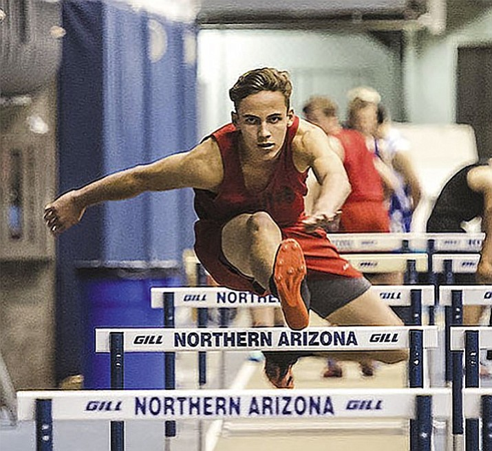 Lee Williams' Enzo Marino competes in the 60-meter hurdles event at the 13th Annual NPA Skydome Classic in Flagstaff on Tuesday. Marino placed second out of 33 teams.