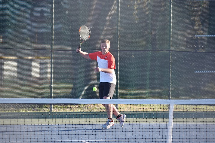 Mingus Union junior Crue Taylor was the only Marauder to win  a match against Dysart on Thursday. Taylor won 6-3, 7-6 in singles. (VVN/James Kelley)