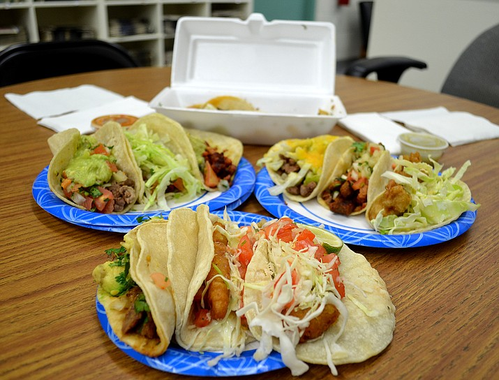 Tacos from four spots around Kingman were on display Monday.