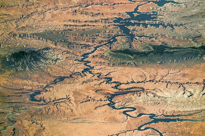The Colorado River's Lake Powell from the north, taken by the International Space Station. A recent report claims climate change has played a larger role in declining river flows than previously thought. Photo/NASA, Creative Commons