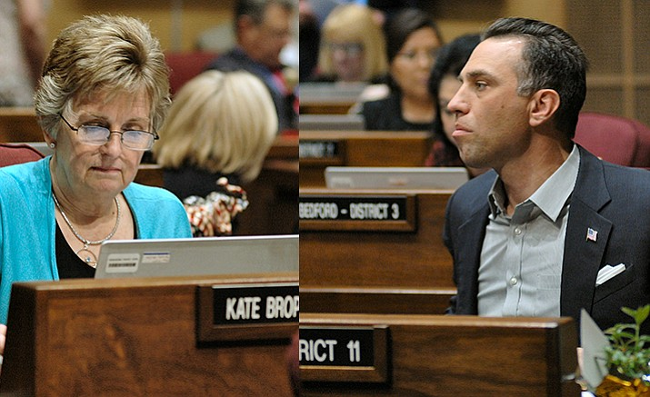 Sen. Kate Brophy McGee (left) and Sen. Steve Smith on the Senate floor Monday (Capitol Media Services photo by Howard Fischer)