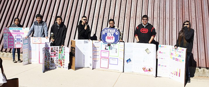 Tuba City Junior High students took home seven first place awards at the 2017 Navajo Nation Science Fair. Photo/Rosanda Suetopka