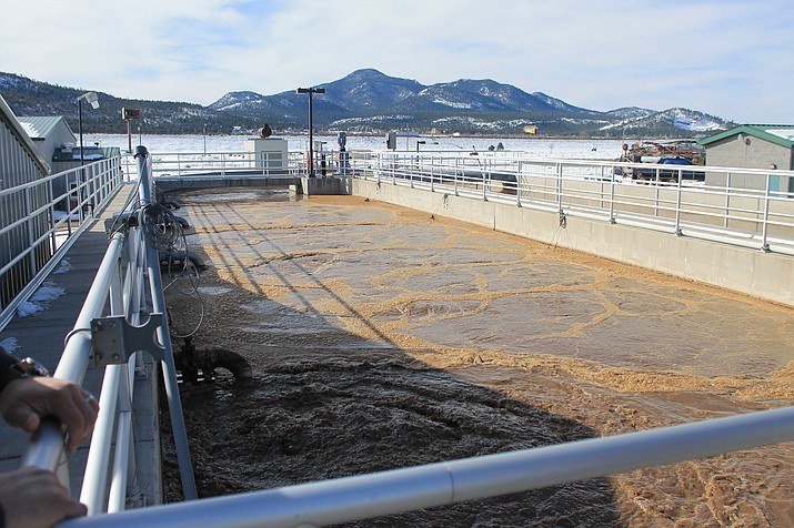 Wastewater flows into the oxidation ditch where microbes are introduced and solids settle.