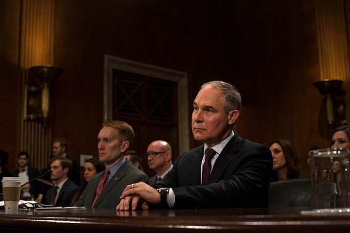 Scott Pruitt at his Senate confirmation hearing to head the Environmental Protection Agency.