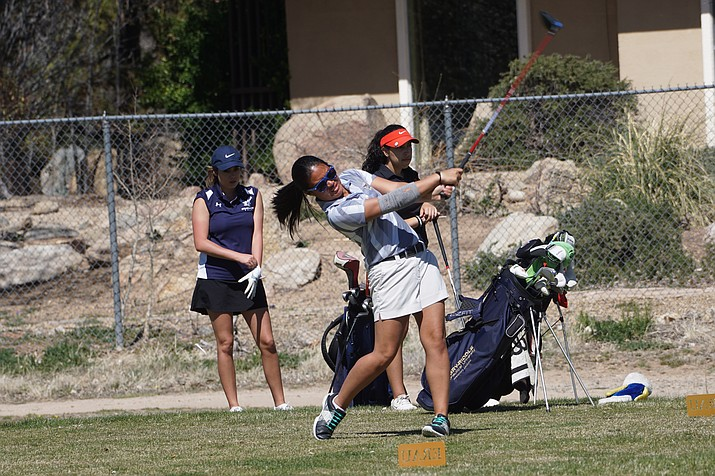 Nicole Lopes tees off Monday at the annual Embry-Riddle Spring Invitational at Antelope Hills Golf Course in Prescott. (ERAU Athletics/Courtesy)
