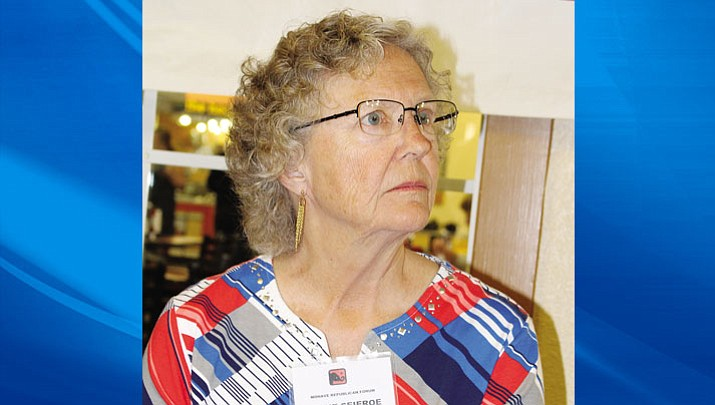 Jayne Seieroe waits to make her presentation at the Mohave Republican Forum March 8.