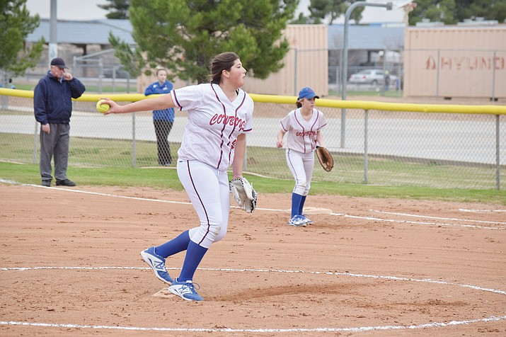 Camp Verde freshman ace Jacy Finley has been impressive this season so far according to Lady Cowboys head coach Henry Smith (VVN/James Kelley)