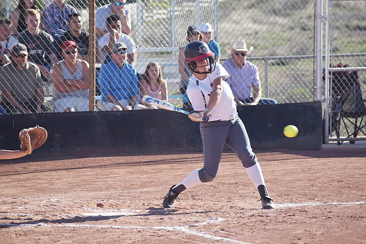 Mingus Union junior Nikki Zielinski hits a double against Notre Dame Prep on Tuesday. Zielinski  had a .636 batting average and 14 RBIs through six games. (VVN/James Kelley)