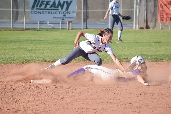 Mingus Union sophomore Maddie Bejarano tags out a Saint at second base during the Lady Marauders' 14-0 win over Notre Dame Prep on Tuesday at home. Bejarano scored twice and had  2 RBIs as Mingus beat won two games in a row 14-0 to start spring break. (VVN/James Kelley)