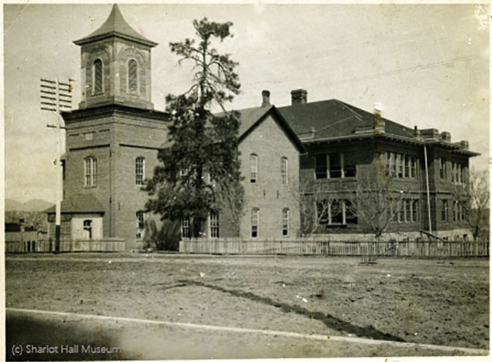 Prescott Free Academy, with Washington School at rear, Prescott, Arizona, C.1903. Call number BU-S-5025P.