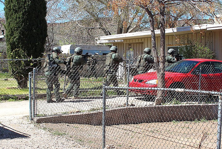 Mohave Area General Narcotics Enforcement Team serving one of three search warrants Thursday.