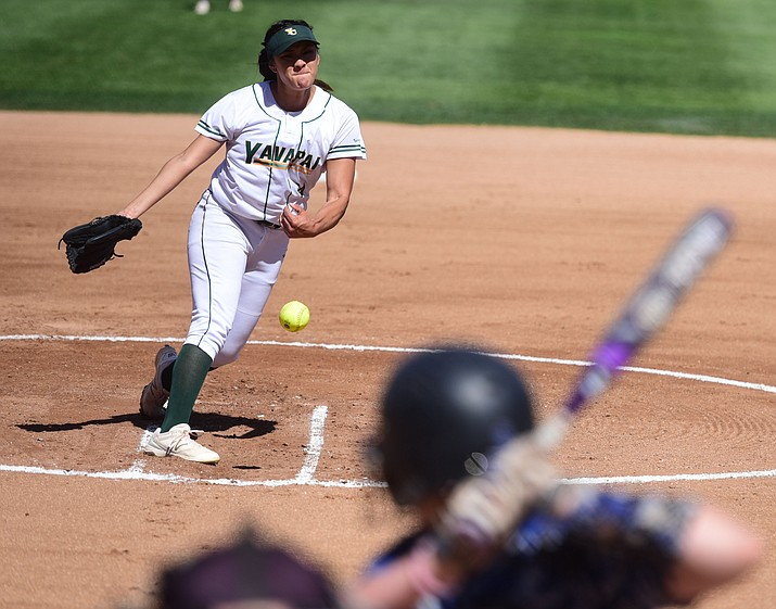 Yavapai College's Kiana Spencer delivers a pitch as the Lady Roughriders take on South Mountain Saturday, March 18 in Prescott. (Les Stukenberg/The Daily Courier)