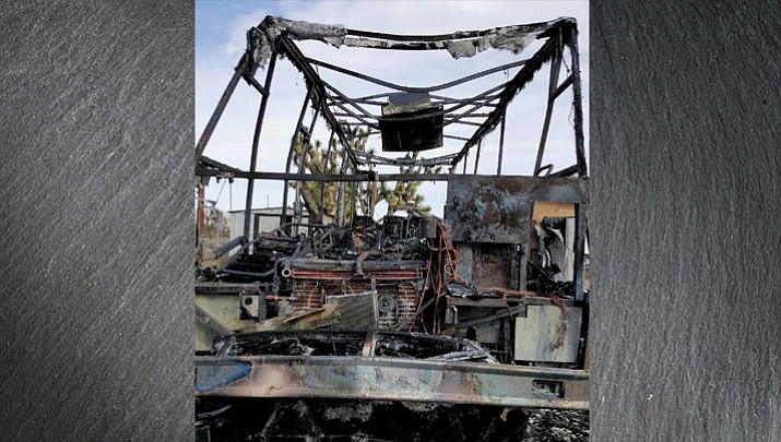 The burned out RV that left Neva Tice, husband Rudy Torrez and their expected baby to sleep on their families' floor.