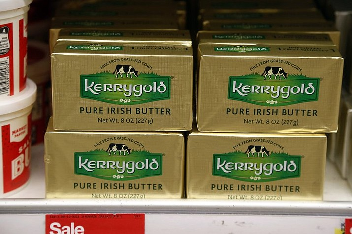 A supply of Kerrygold Pure Irish Butter sits amidst other butters on a store shelf Friday, March 17, 2017 in Edina, Minn. Wisconsin consumers tired of trekking across state lines to buy a popular Irish butter are taking their fight to court. A 1953 state law bans the sale of Kerrygold butter in Wisconsin, along with any other butter that hasn't been locally graded for quality. A handful of butter aficionados filed the lawsuit, saying it's unconstitutional to require butter sold in the state to undergo a government-mandated taste test.