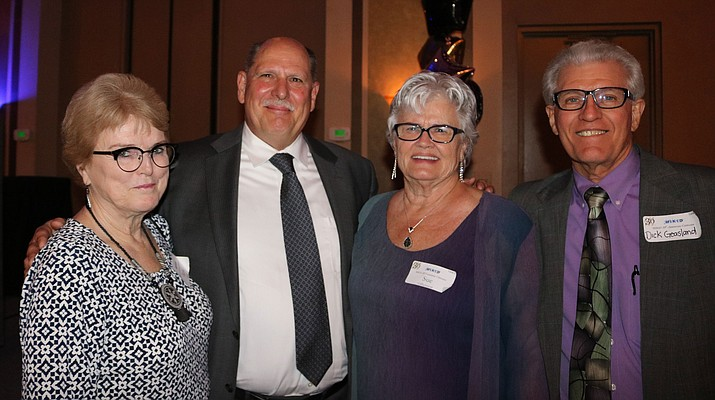 From left to right, Ilene Dode, Immediate Past President MIKID Board; Judge Richard Weiss, Mohave County Superior Court; Sue Gilbertson, MIKID Founder; and current board member; Dick Geasland, CEO MIKID, all were on hand to witness Weiss's acceptance of the Sue Gilbertson Leadership Award.