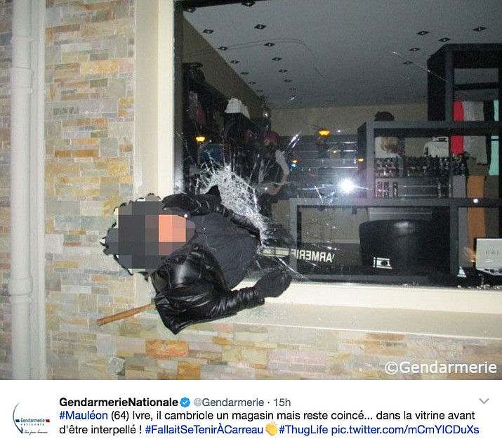 This twitter post by the French gendarmes shows a robbery suspect stuck in a hole he'd made with a hammer in a shop window.