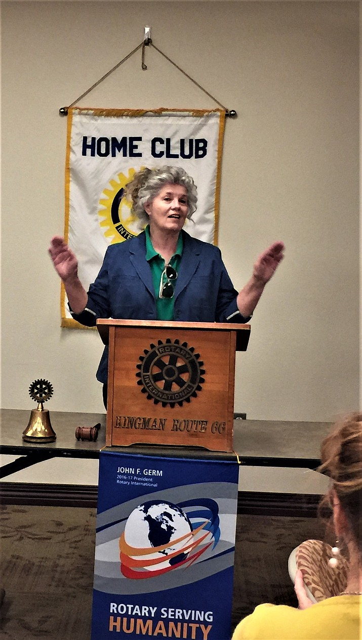 Eve Hanna speaks at Kingman Route 66 Rotary Club's March 17 meeting.