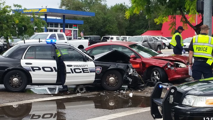 A police officer sustained minor injuries in this crash on Aug. 18, 2016, when a car turned in front of him, Prescott police said. No complaint was filed against the officer in this case.