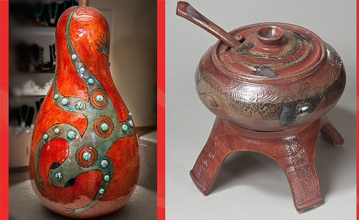 Pat Priolo will present her masterful gourd and jewelry work (left). Right: Tower of Soup by Luke Metz