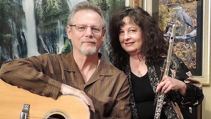 Meadowlark is fingerstyle guitarist, Rick Cyge and Lynn Trombetta performing on flute and Irish whistles.