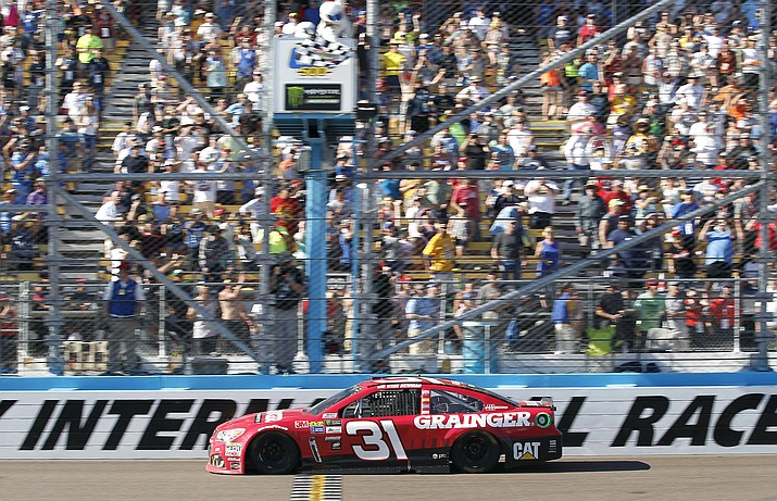 Ryan Newman wins the NASCAR race at Phoenix International Raceway on Sunday, March 19, 2017.