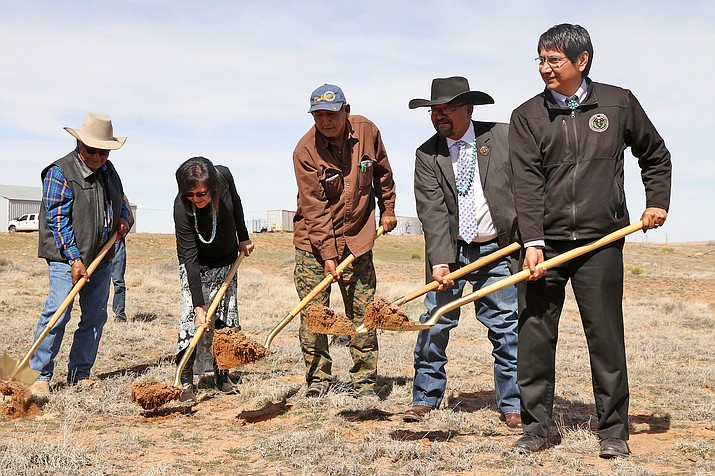Chapter house members and Navajo Nation Vice President Jonathan Nez break ground on the Teesto Chapter House March 10. Submitted photo