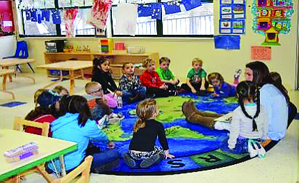 Students participate in circle time at Kaibab Learning Center.