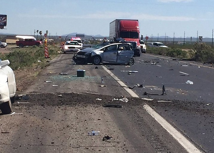 The crash at approximately mile marker 27 continues to keep U.S. 93 closed