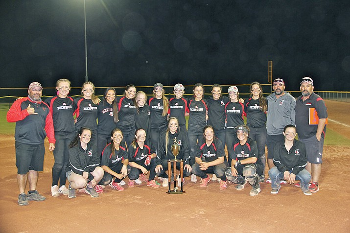Mingus Union softball finished first in the silver bracket of the Grace Lee Haught Memorial in Payson, going 6-1. The Lady Marauders beat Snowflake twice, Round Valley, Santa Cruz Valley, Show Low and Joseph City.  (Photo courtesy Gayle Mabery)