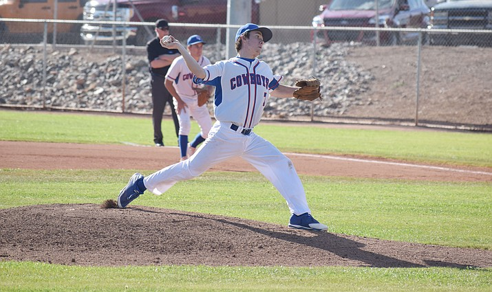 Camp Verde senior John Castillo against Tonopah Valley in the Cowboys' 17-1 win on Tuesday. Castillo pitched four innings, gave up three hits, no earned runs and struck out four. Phoenix batters. (VVN/James Kelley)