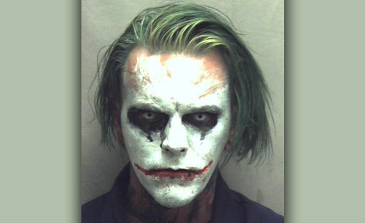 Police in Virginia arrested 31-year-old Jeremy Putman on March 24, 2017 after callers reported seeing him walking, wearing a cape, carrying a sword and made up as the Batman villain the Joker. Authorities charged Putman with wearing a mask in public, a felony that can result in a sentence of a year in jail.
