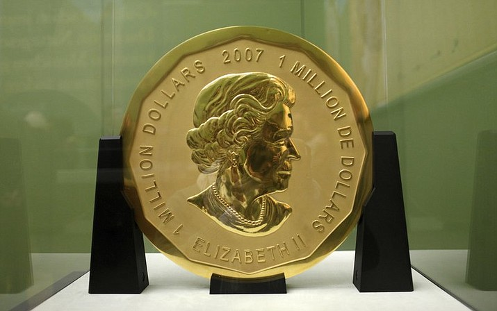 This 2010 file photo shows the gold coin 'Big Maple Leaf' in the Bode Museum in Berlin. The 220 pound gold coin disappeared from the museum.